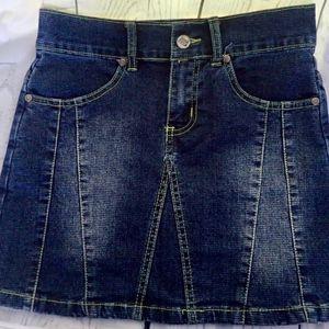 Gazoz Jeans Skirt Jr Sz 1/2  Med Wash Distressed